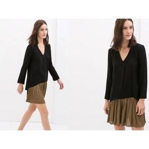 Zara Classic Black V-Neck Long Sleeve Shirt